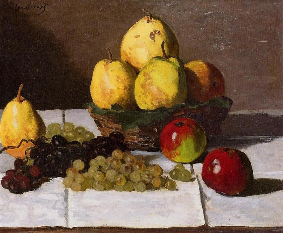 STILL LIFE OF 3 APPLES BY MANET FRENCH PAINTING FOOD ART REAL CANVAS PRINT