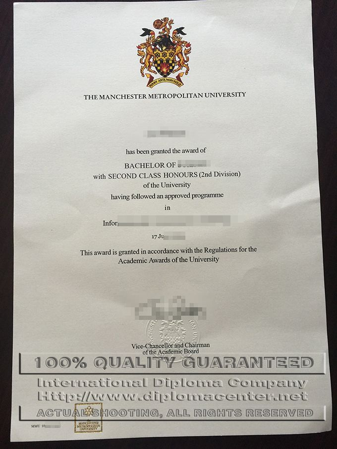 MMU degree certificate, The Manchester Metropolitan ...