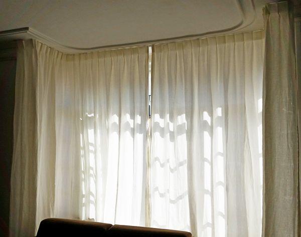 Tringle et rideaux sur mesure pour bow-window   Rideaux sur mesure ...