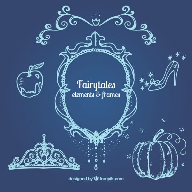 Hand drawn fairy tales elements with a frame Free Vector - best of luxury invitation vector