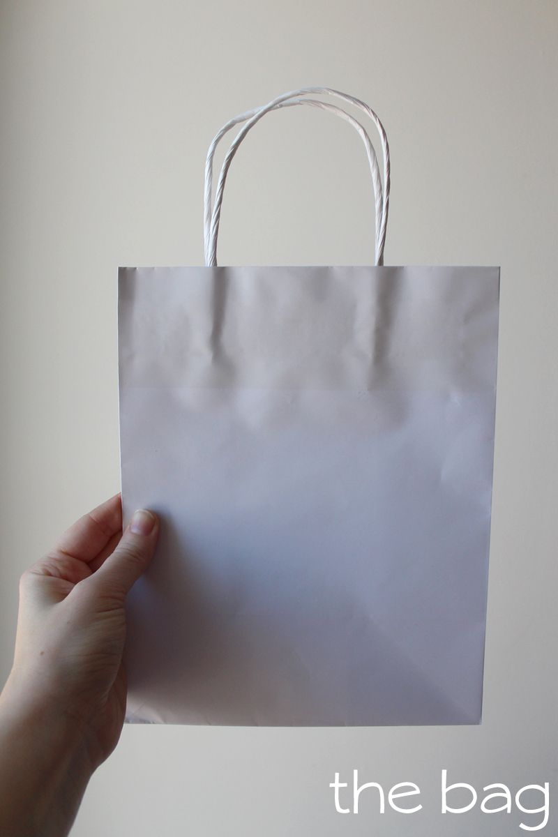 White gift bag for bunny gift bag