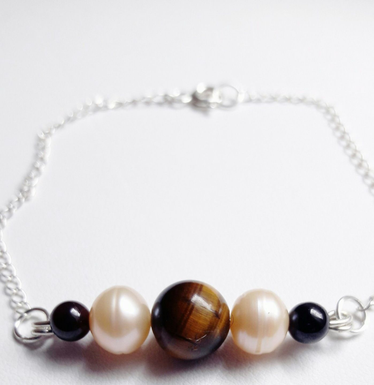 Bracelet Oeil de Tigre, perles d\u0027eau douce et Grenat ,chaîne Argent 925