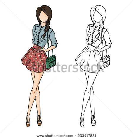 fashion sketch drawing girls in beautiful looks. Hand drawn set of fashion outfits. Illustration with colored girl and contour girl. Pretty girl in floral skirt