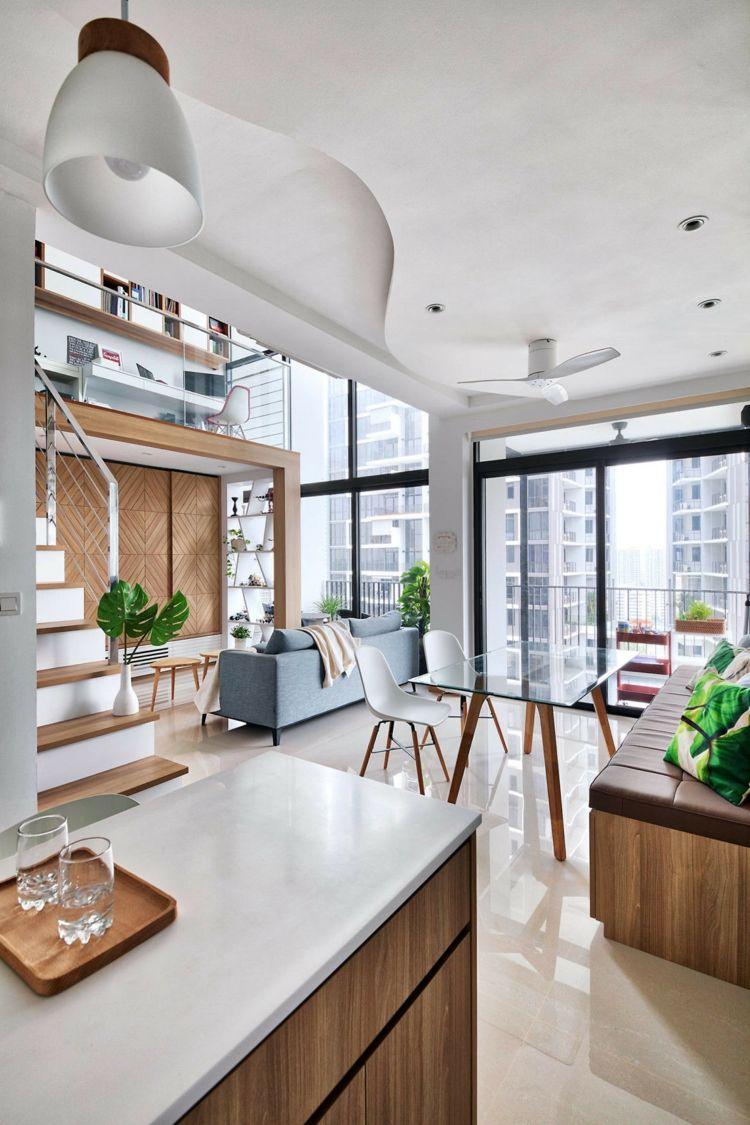 zeitgenössischer loft stil helle wohnung holz marmor zimmerpflanzen ...