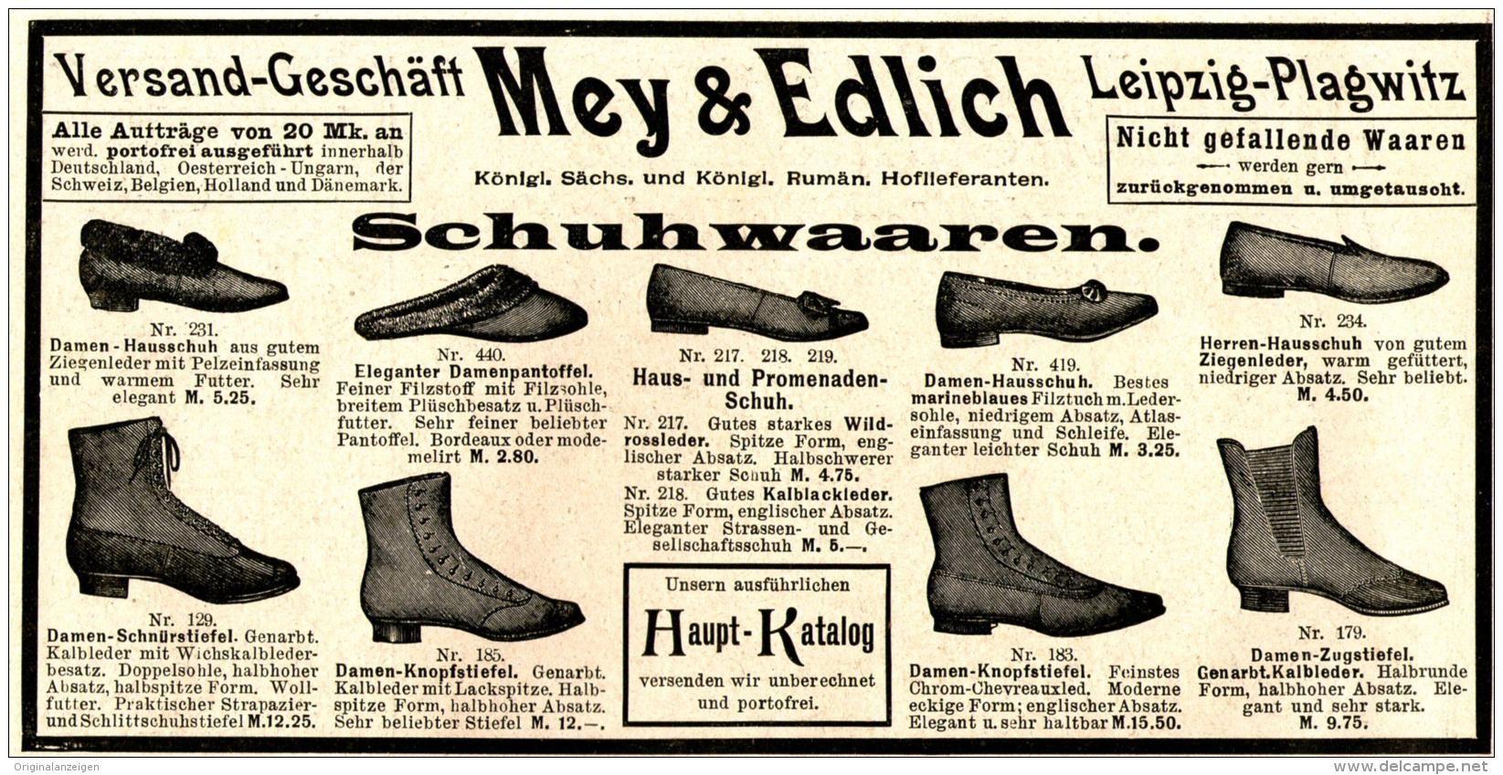 Original-Werbung/ Anzeige 1897 - SCHUHE - MEY & EDLICH / LEIPZIG - PLAGWITZ - ca. 180 x 90 mm