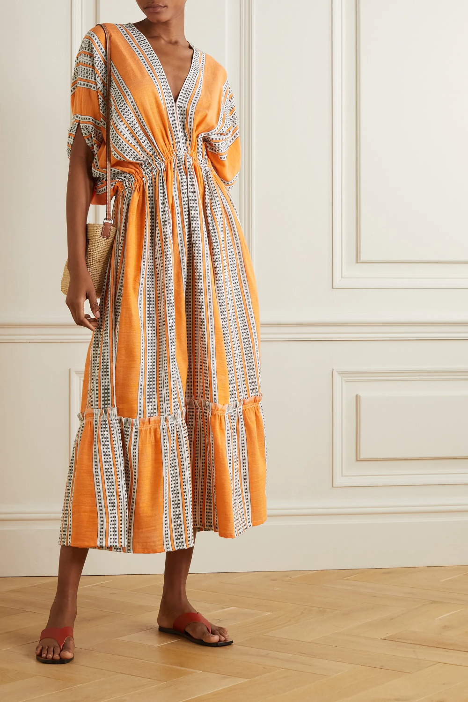 Orange Amira Printed Cotton Blend Gauze Midi Dress Lemlem Dresses Beach Wear Outfits Midi Dress [ 1500 x 1000 Pixel ]