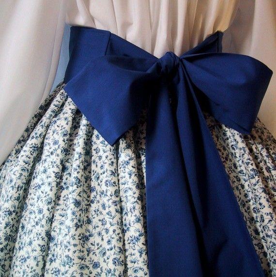 Floral Long Skirt for Costume - Pioneer SASS - Victorian Tea - Civil War Reenactment - Dark Blue ...