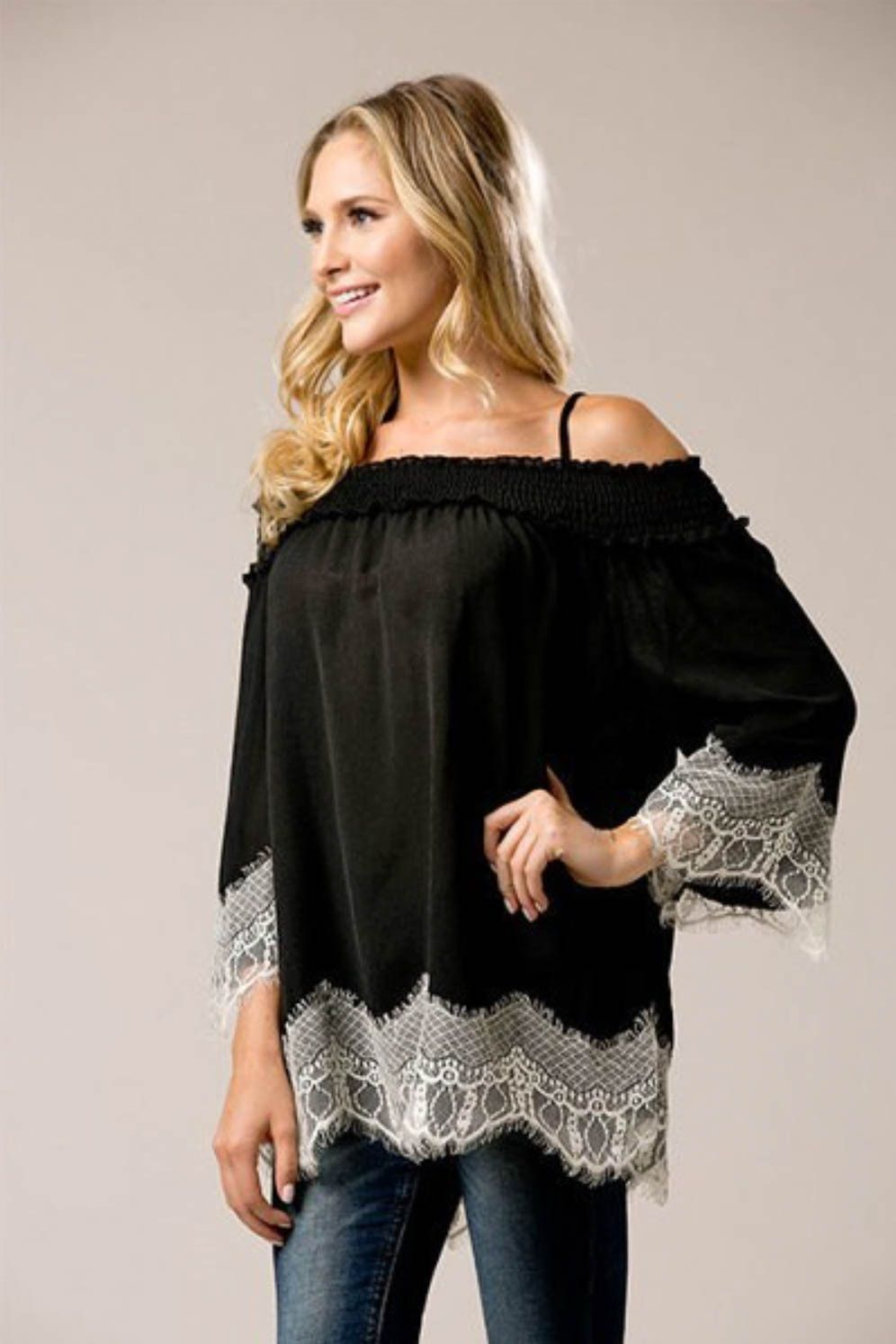 Off The Shoulder Contrast Lace Top