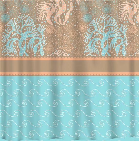 Custom Coral Shells Waves Shower Curtain In Tiffany Blue Peach