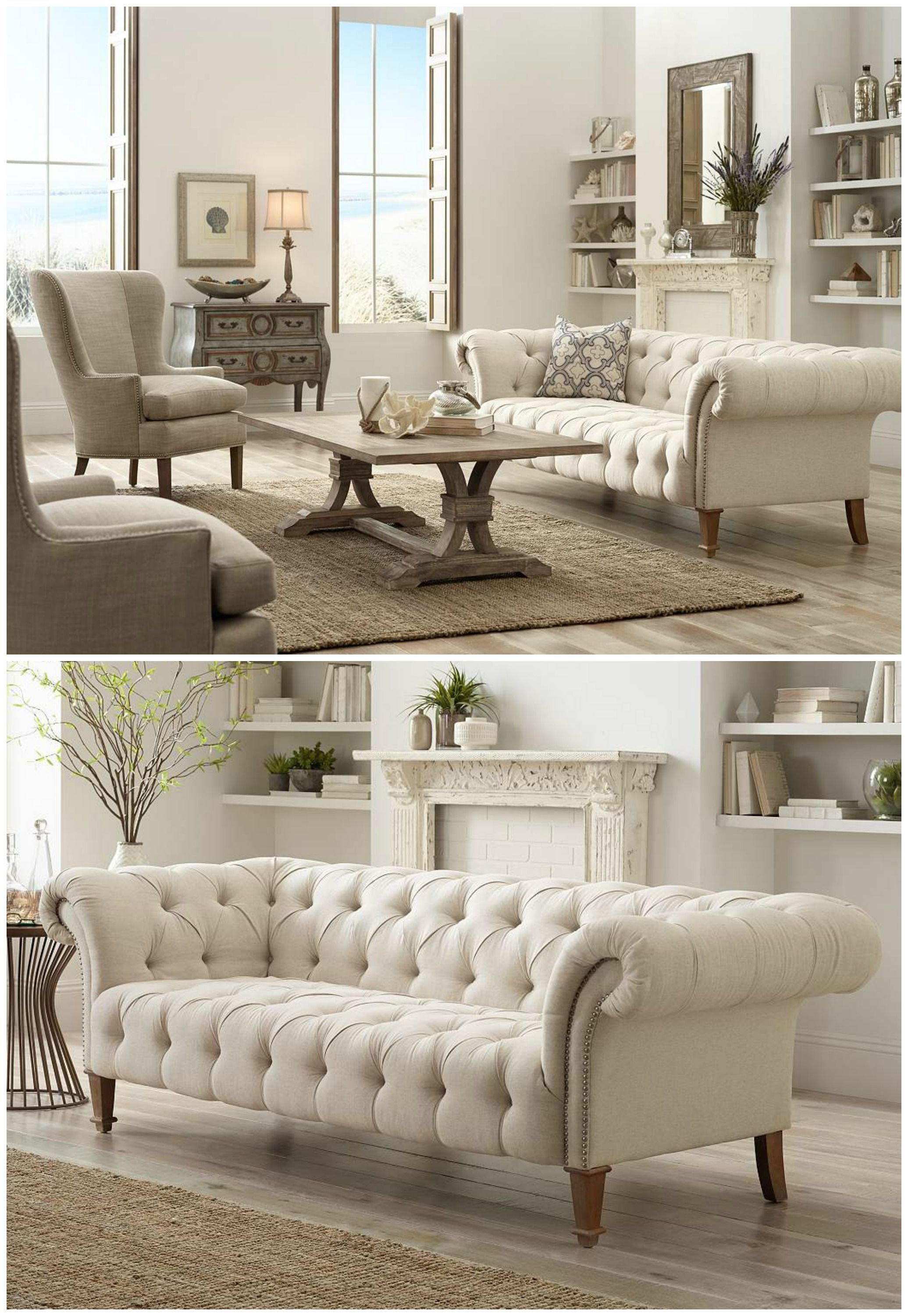 Tessa 90 3 4 Wide Tufted Beige Linen French Sofa 2x200 Lamps Plus In 2020 Living Room Decor Cozy Shabby Chic Sofa Living Room Sofa Design