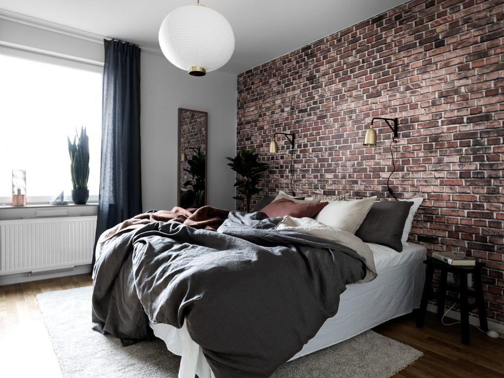amusing brick accent wall bedroom | Apartment Presented by Moodhouse Interiör | Brick wall ...