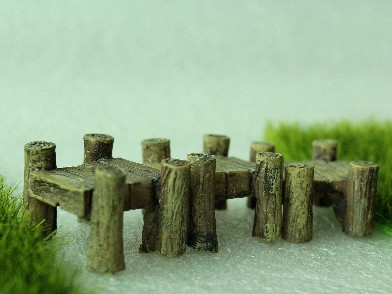 Amazon pcs miniature garden fairy ornament wooden bridge grey