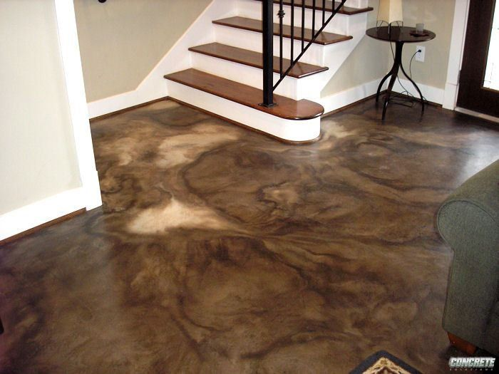 Color Acid Staining For Basement Floor, With Radiant Heat Flood Protection