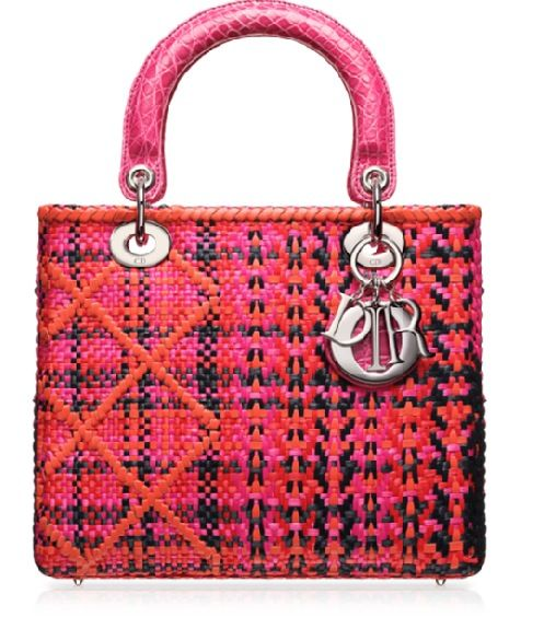 Lady Dior multi coloured raffia with croc handles