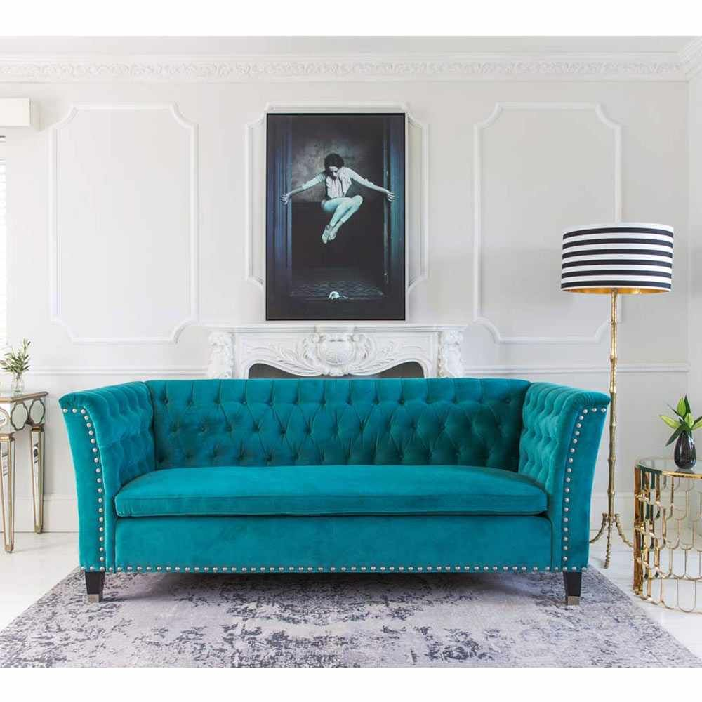 Beau Nightingale Teal Blue Velvet Sofa | Luxury Sofa