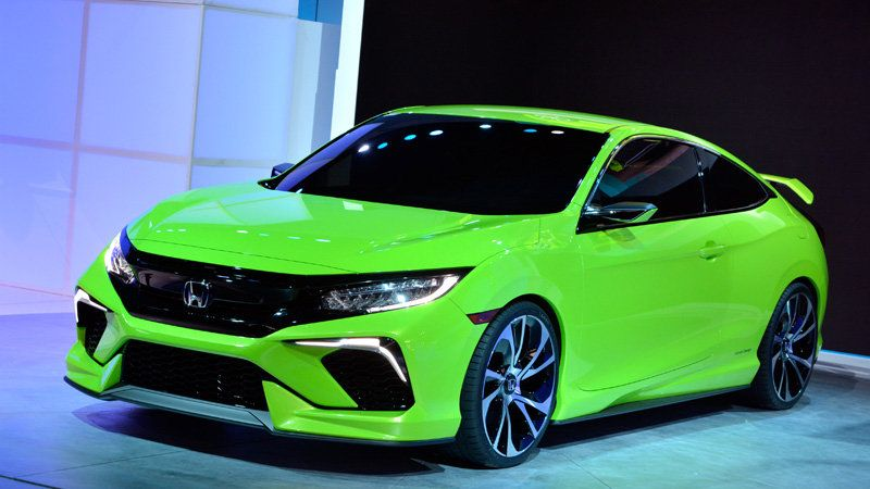 Honda Civic Concept Is Your Average Neon Green Turbocharged Show Stealer W Video Honda Civic Honda Civic Coupe Honda Civic Sport