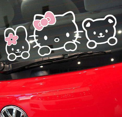 Hello Kitty Car Stickers And Decals Pink Products Pinterest - Hello kitty car decal stickers