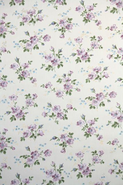 Pretty 1950s Purple Floral Vintage Wallpaper Vintage Wallpaper Floral Wallpaper Vintage Floral Wallpapers