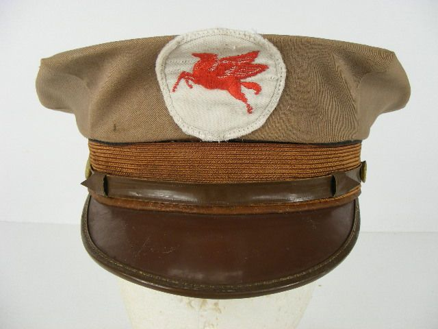 old antique original vintage Mobil gas station attendant hat with the rare  brass pegasus horse side buttons and a Dalcap of Dallas c9a183a89787