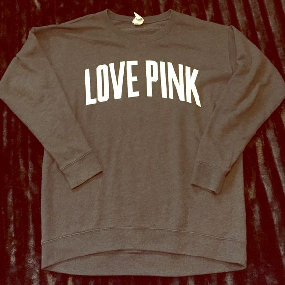 VS LOVE PINK CHARCOAL GRAY CREW Fits oversized! I need to sell ASAP! Can go lower through ️️ or Ⓜ️! PINK Victoria's Secret Sweaters