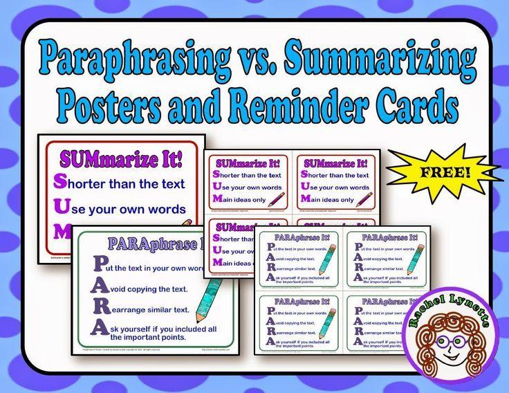 Paraphrasing And Summarizing Free Poster Reminder Card Paraphrase Reading Comprehension Skill Activities Distinguish Between