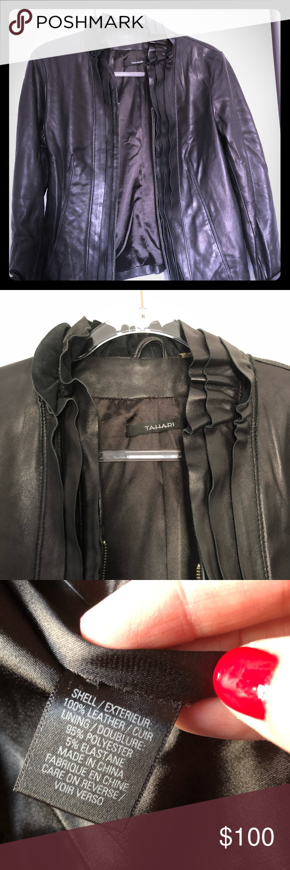 Tahari Beautiful Leather Jacket Absolutely Gorgeous Tahari Leather Jacket In Size S P Good Condition With Minimal Si Leather Jacket Beautiful Leather Jackets [ 1740 x 580 Pixel ]