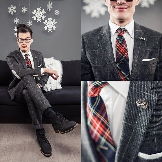 Plaid Tie, Cuff Links, Cole Haan Wingtip Boots, H&M Window Pane Suit
