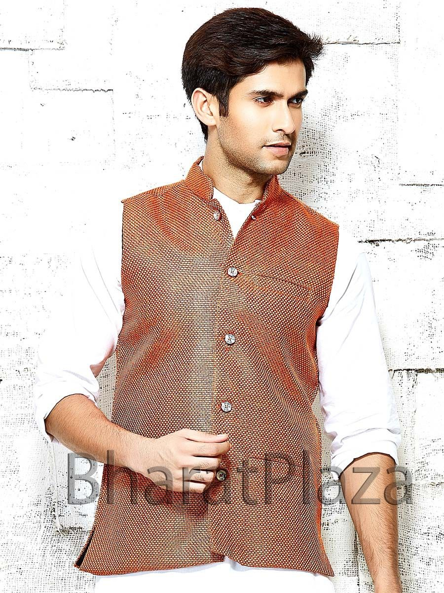 Alluring rust color nehru jacket is invented on jute with molded