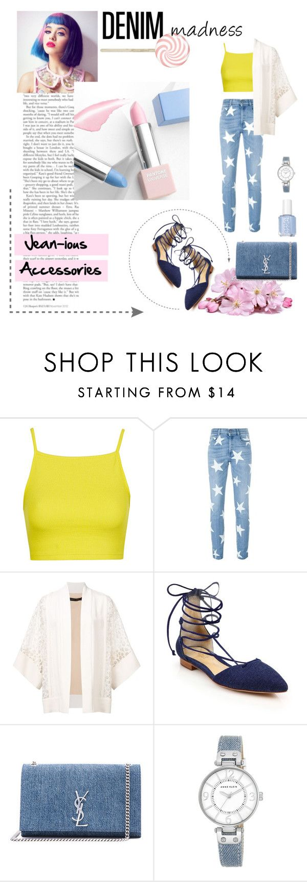 """Denim candy"" by pcangaroza ❤ liked on Polyvore featuring Topshop, STELLA McCARTNEY, Elie Saab, Schutz, Yves Saint Laurent, Sephora Collection, Anne Klein and Essie"