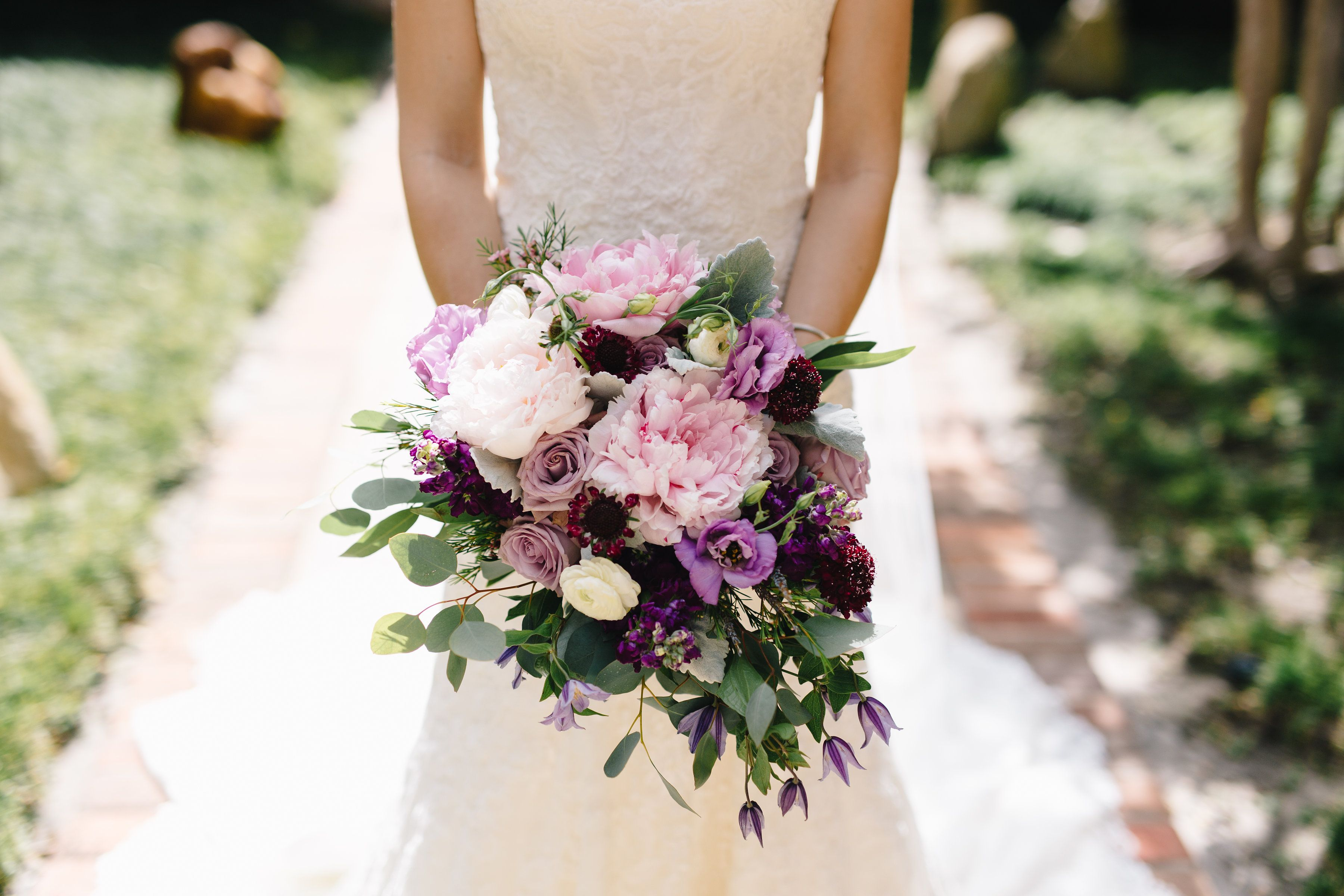Loose cascading bridal bouquet of light pink peony ocean song rose loose cascading bridal bouquet of light pink peony ocean song rose dark purple wax flowerspretty mightylinksfo Images