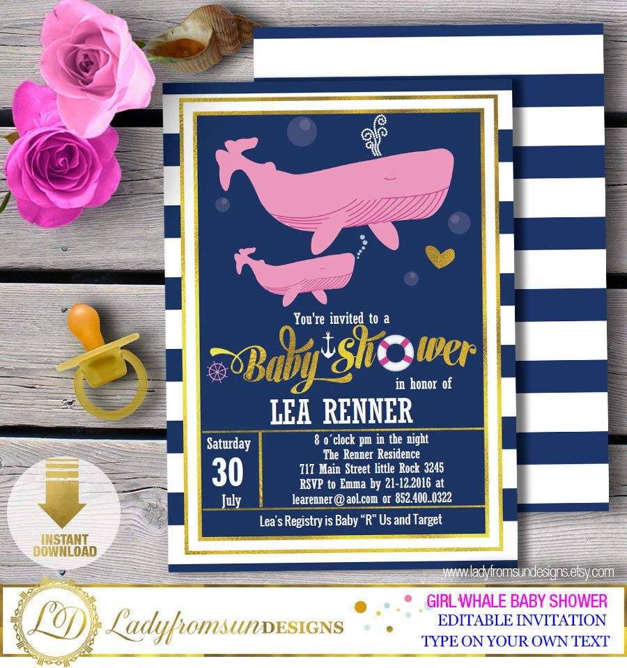 Girl Whale Baby Shower ,Whale Baby Shower Invites, Whale Invitation ...