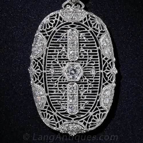 Art Deco Filigree and Diamond Necklace - Lang Antiques