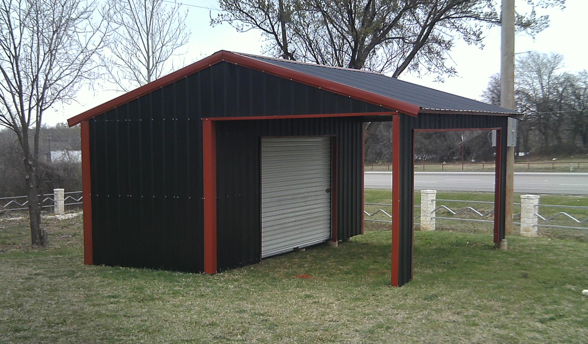 American steel carport a frame vertical partial for Carport with storage shed attached
