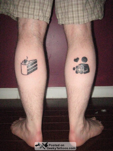 A Portal Tattoo For The Portal 2 Release Geeky Tattoos Simple Leg Tattoos Creative Tattoos Leg Tattoos