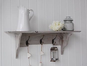 25x70x20 A Grey Washed Shelf With 3 Hooks For Hanging Coats In Hall
