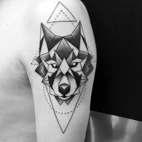 90 Geometric Wolf Tattoo Designs For Men Manly Ink Ideas Geometric Wolf Tattoo Tattoos For Guys Tattoo Designs Men