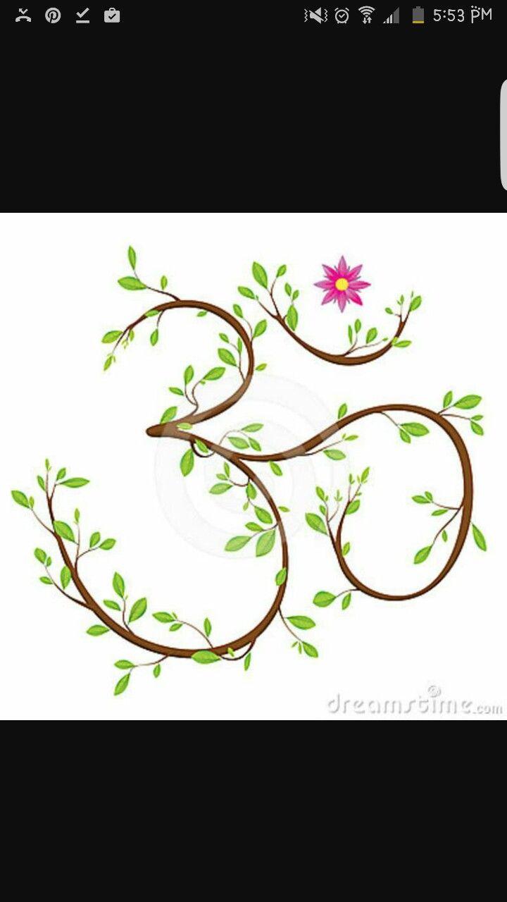 Flower and branch ohm symbol | tattoos | Yoga, Yoga symbols