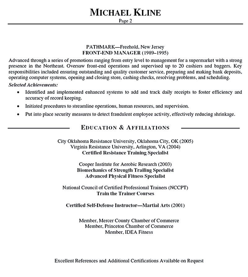 Personal Trainer Resume Should Explain An Expertise Area Of The