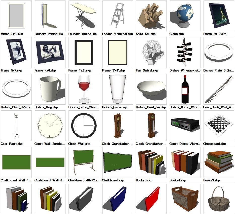 Sketchup Interior Objects 3D Models Download CAD Design