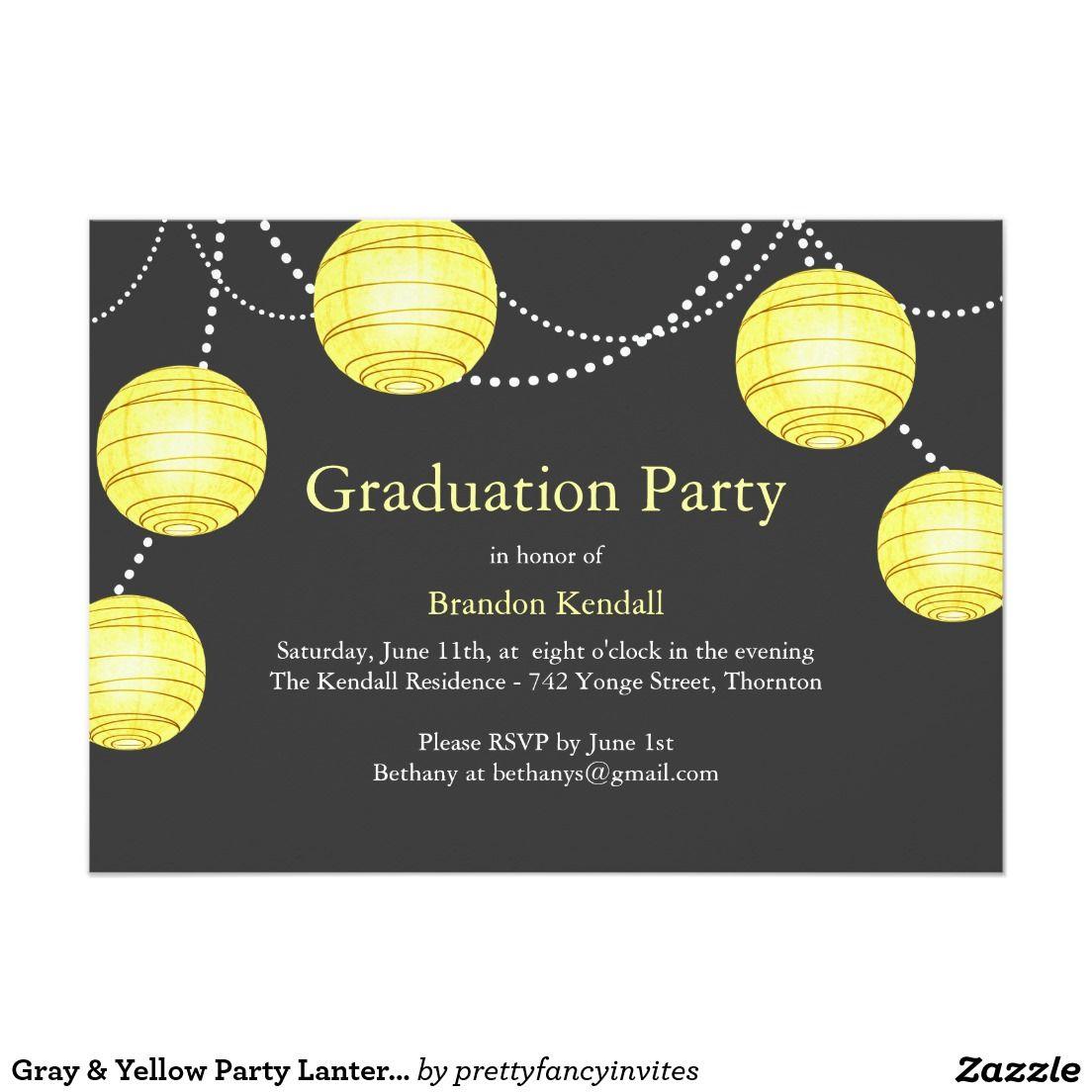 Graue u. gelbe Party-Laternen-Abschluss-Einladung 12,7 X 17,8 Cm ...