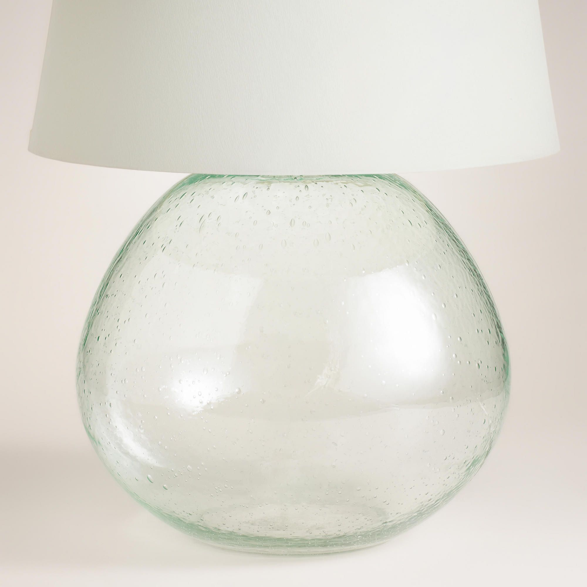 Green Glass Table Lamp Base Made From Pale Aqua Recycled Seeded