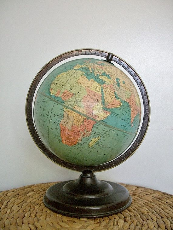 """Vintage /& Very Rare The World Globe Political Desk Globe On A Stand Height 20/"""""""
