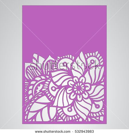 Die cut card. Laser cut vector panel. Cutout silhouette ...