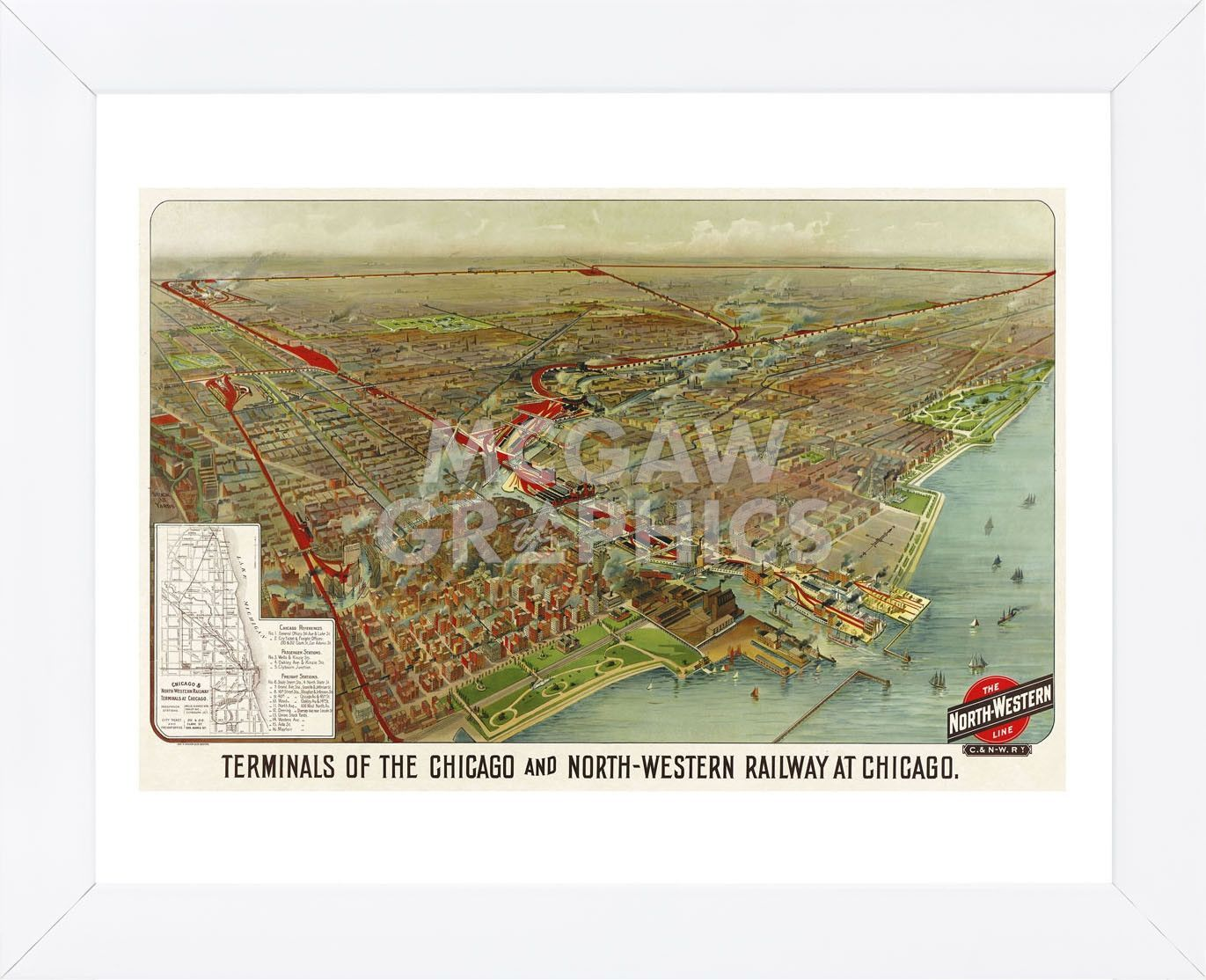 Terminals of the Chicago and North-Western Railway at Chicago, 1902 (Framed)