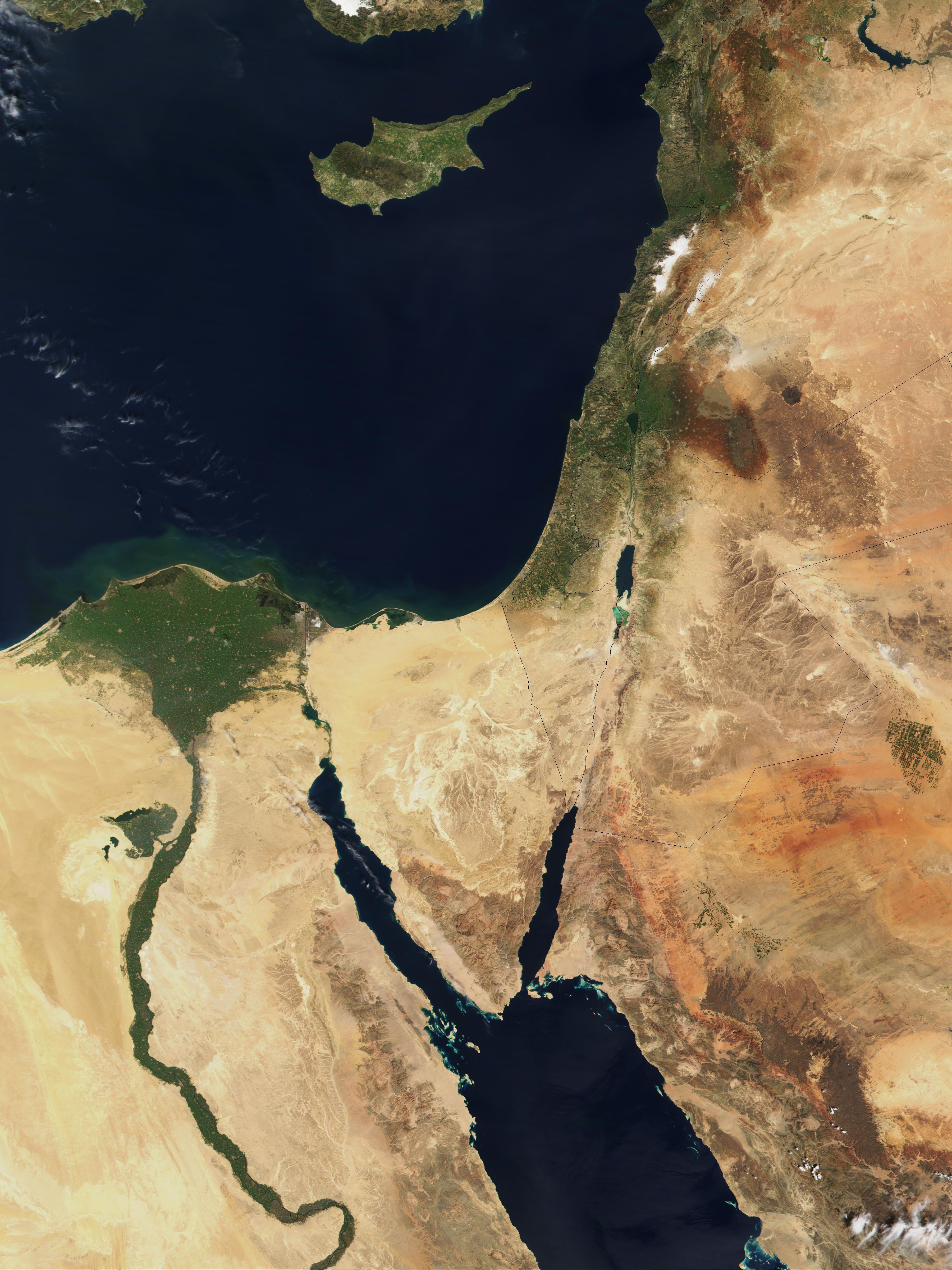 Satellite View Showing Israel Lebanon Jordan Syria Turkey - Map of egypt israel jordan syria