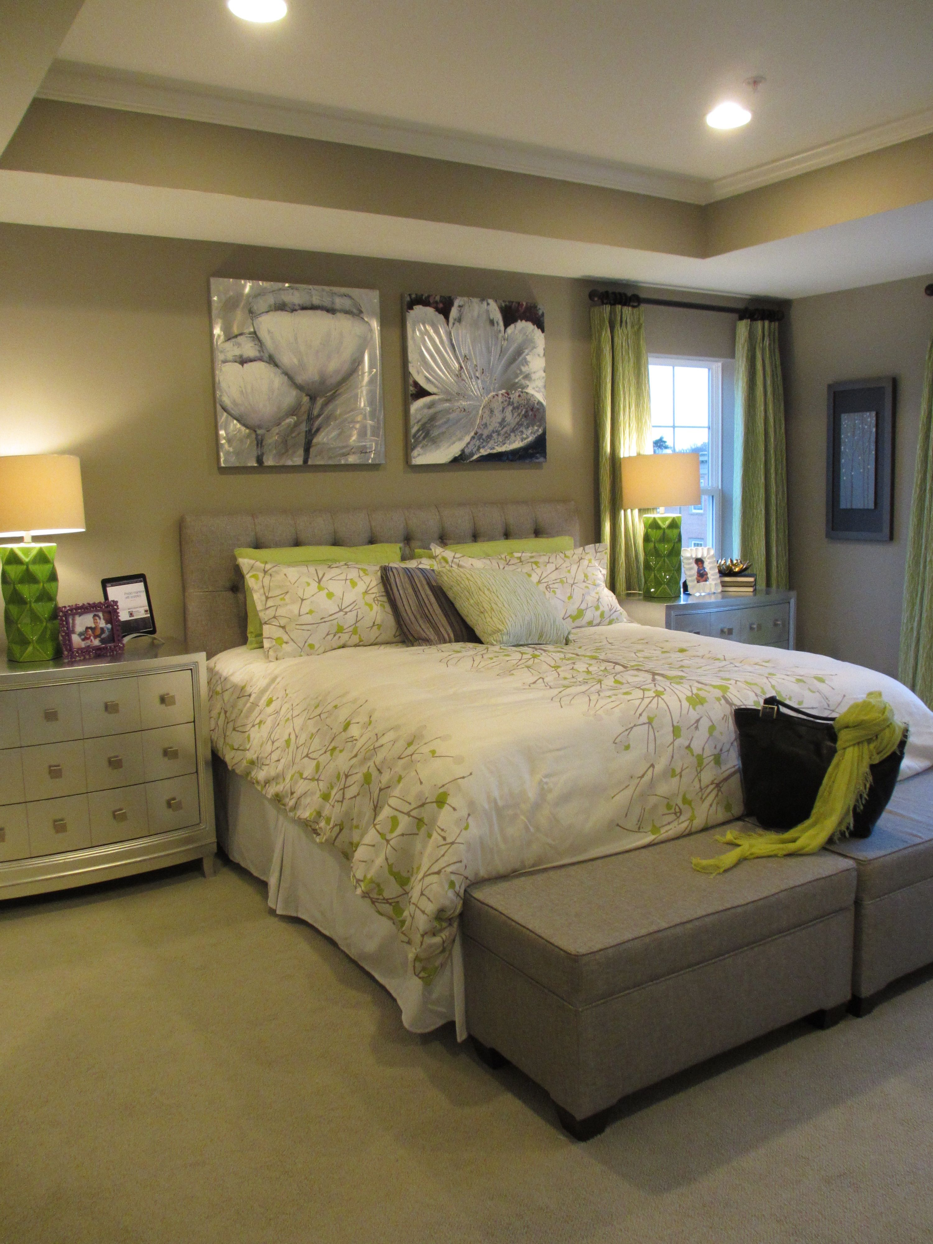 Summit hall upper unit green and grey designed by mina - Green and grey bedroom ...
