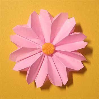 折り紙でコスモスの折り方 1枚で簡単立体的な作り方 セツの折り紙処 秋 折り紙 コスモス 折り紙 折り紙 花 折り方