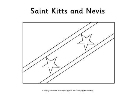 St Kitts And Nevis Flag Colouring Page Flag Coloring Pages