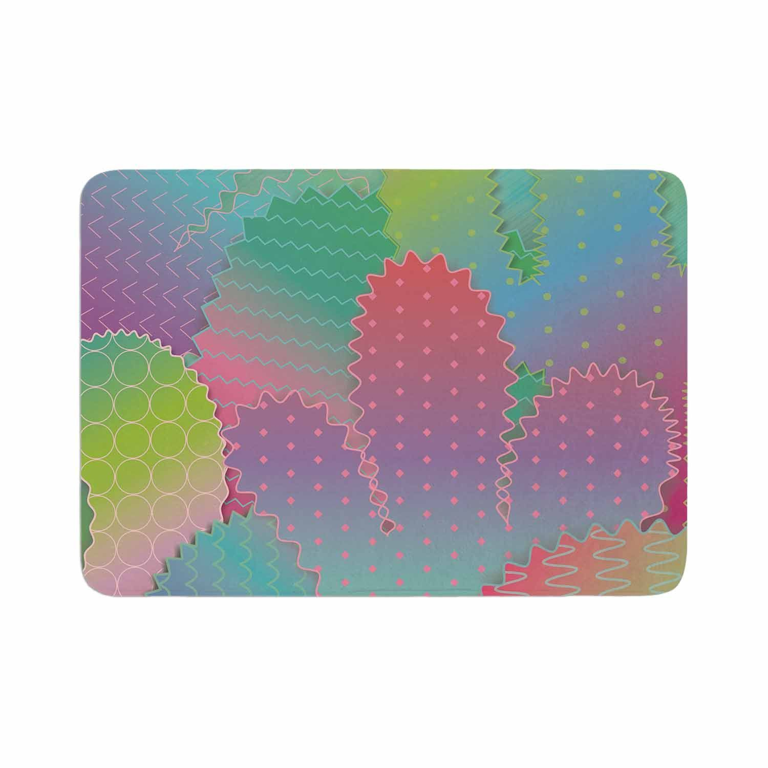 "Graphic Tabby ""Colorful Cacti Garden"" Pastel Nature Memory Foam Bath Mat"