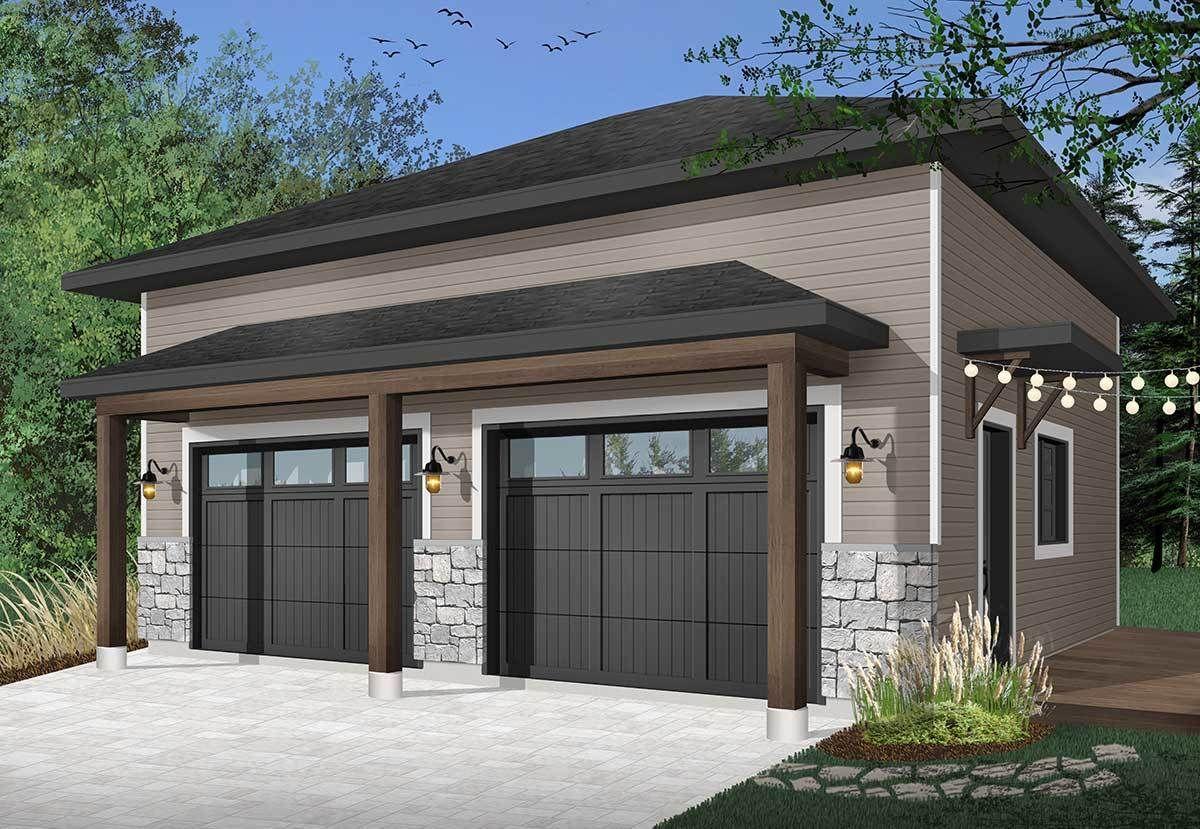 Plan 22508dr Modern 2 Car Detached Garage In 2021 Garage Door Design Modern Garage Garage Design